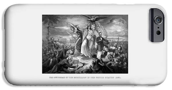 History Drawings iPhone Cases - The Outbreak Of The Rebellion In The United States iPhone Case by War Is Hell Store
