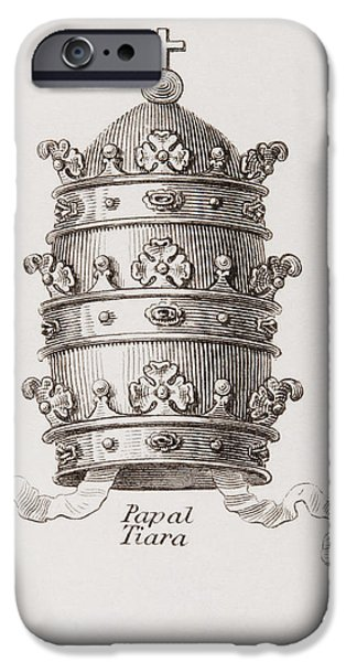 Pope Drawings iPhone Cases - The Papal Crown Or Tiara. From The iPhone Case by Ken Welsh
