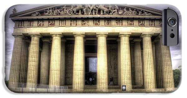Facade iPhone Cases - The Parthenon in Nashville v2 iPhone Case by John Straton