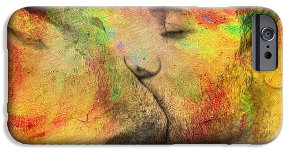Love Digital Art iPhone Cases - The Passion Of A Kiss 1 iPhone Case by Mark Ashkenazi