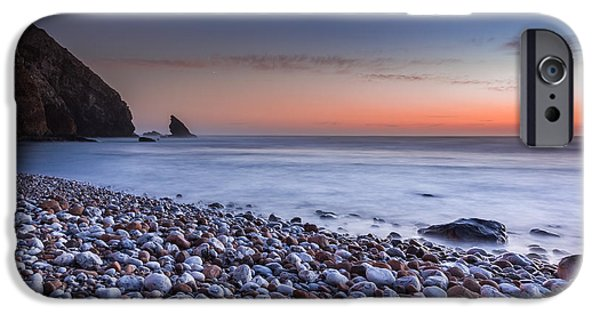 Ocean Sunset iPhone Cases - The pebble beach.  iPhone Case by Henrique Silva