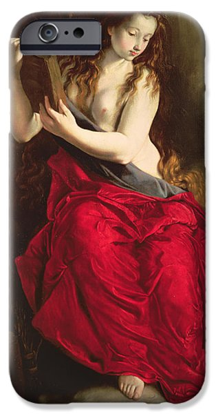 Mary Paintings iPhone Cases - The Penitent Magdalen iPhone Case by Spanish School
