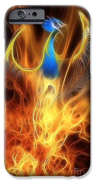 Extinct And Mythical iPhone Cases - The Phoenix rises from the ashes iPhone Case by John Edwards