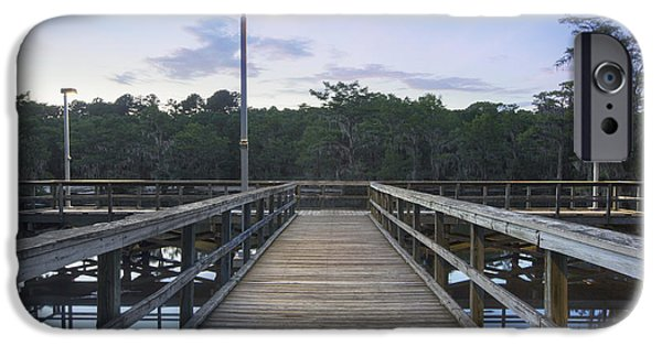 Caddo Lake iPhone Cases - The Pier at Caddo Lake State Park 1 iPhone Case by Rob Greebon