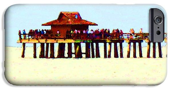 Naples iPhone Cases - The Pier - Beach Pier Art iPhone Case by Sharon Cummings