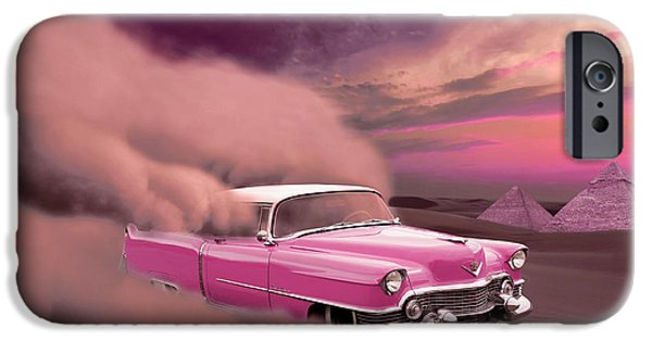 Surreal Landscape iPhone Cases - The Pink Cadillac iPhone Case by Eva Engvall