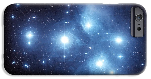 Constellations iPhone Cases - The Pleiades Star Cluster iPhone Case by Charles Shahar