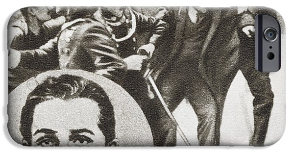 Police Drawings iPhone Cases - The Police Arresting Gavrilo Princip iPhone Case by Ken Welsh