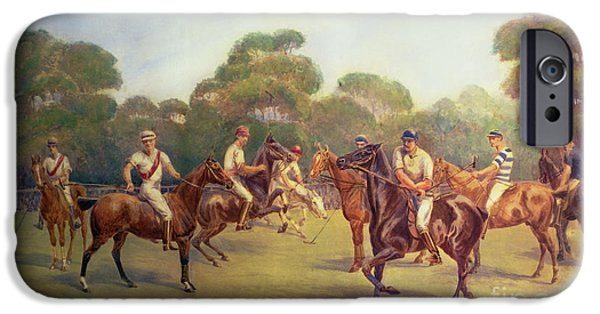 The Horse iPhone Cases - The Polo Match iPhone Case by C M  Gonne