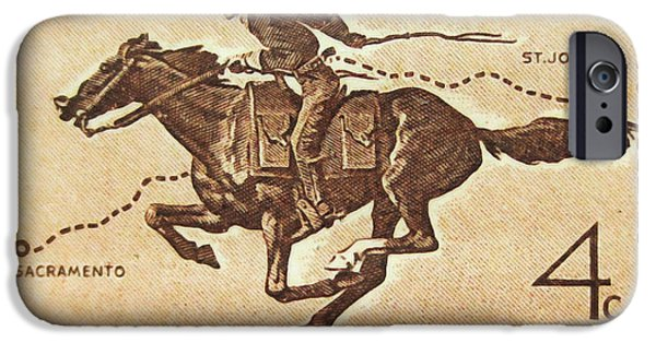 Recently Sold -  - Connection iPhone Cases - The Pony Express Centennial stamp iPhone Case by Lanjee Chee