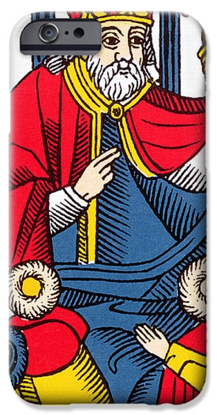 Pope iPhone Cases - The Pope Tarot Card iPhone Case by French School