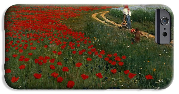 Pathway iPhone Cases - The Poppy Field iPhone Case by Pal Szinyei Merse