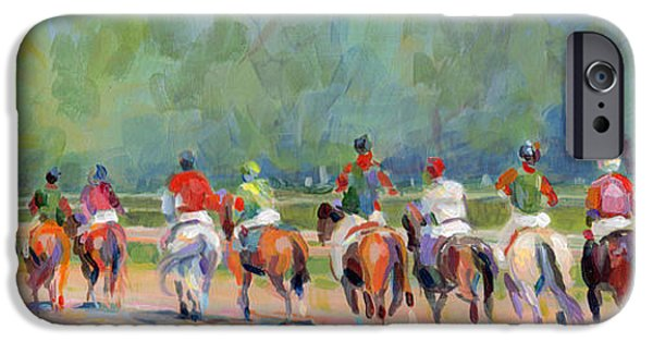 Race Horse Paintings iPhone Cases - The Post Parade iPhone Case by Kimberly Santini