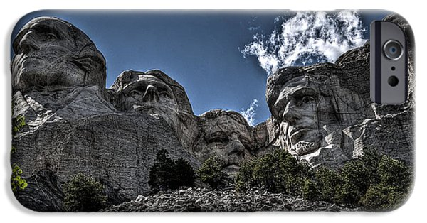 Lincoln iPhone Cases - The Presidents of Mount Rushmore iPhone Case by Deborah Klubertanz