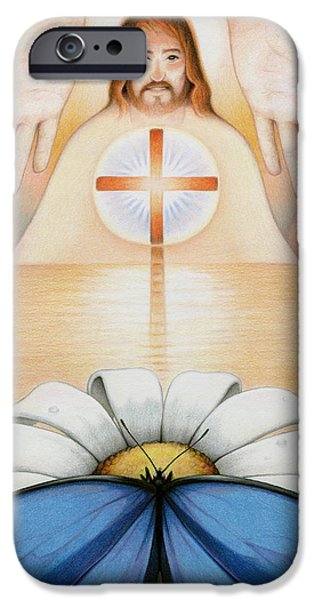 Jesus Drawings iPhone Cases - The Price And The Promise iPhone Case by Amy S Turner