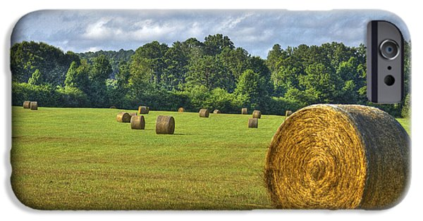 Hayfield iPhone Cases - The Productive Southern Hay Field iPhone Case by Reid Callaway