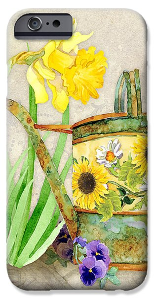 Pansy iPhone Cases - The Promise of Spring - Watering Can iPhone Case by Audrey Jeanne Roberts