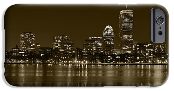 Boston Ma iPhone Cases - The Pru lit up in Red Sepia iPhone Case by Toby McGuire