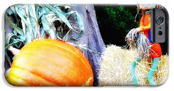 Harvest Time iPhone Cases - the Pumpkin and the Scarecrow iPhone Case by Bill Cannon