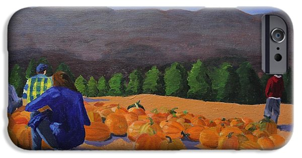 Creepy iPhone Cases - The Pumpkin Patch iPhone Case by Marina McLain