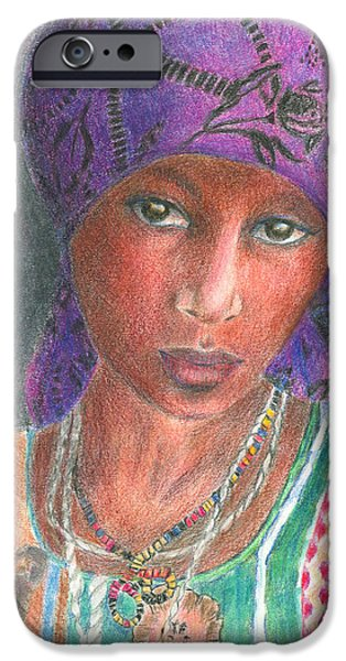 Purple Drawings iPhone Cases - The Purple Scarf  iPhone Case by Arline Wagner