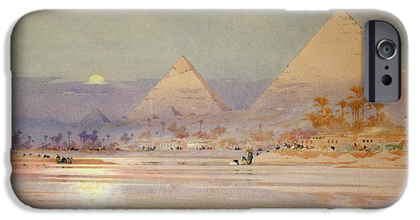 Sand Dune iPhone Cases - The Pyramids at dusk iPhone Case by Augustus Osborne Lamplough