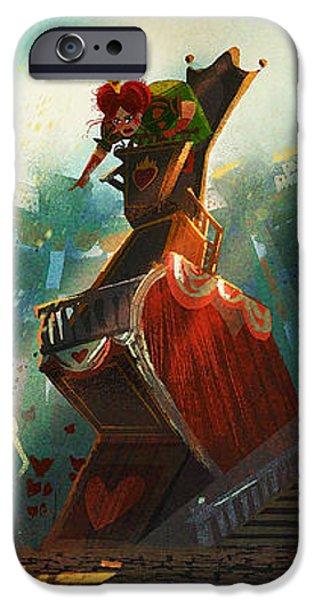 Alice In Wonderland Digital iPhone Cases - The Queen of Hearts iPhone Case by Kristina Vardazaryan