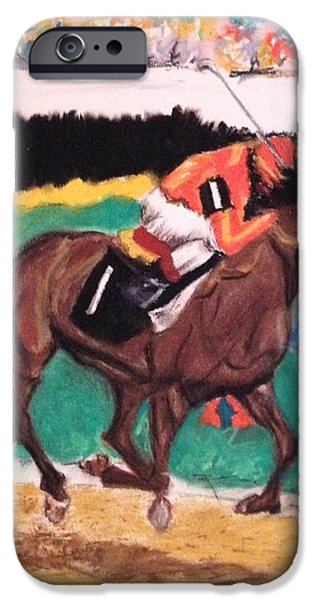 Horse Racing Pastels iPhone Cases - The Race iPhone Case by Michael Martone