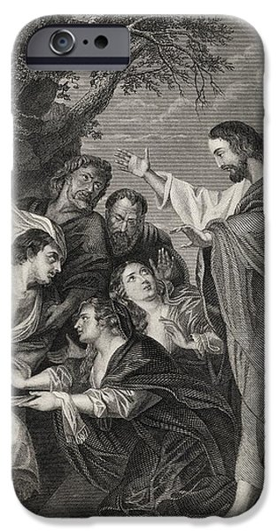 Miracle Drawings iPhone Cases - The Raising Of Lazarus Engraved By S iPhone Case by Ken Welsh