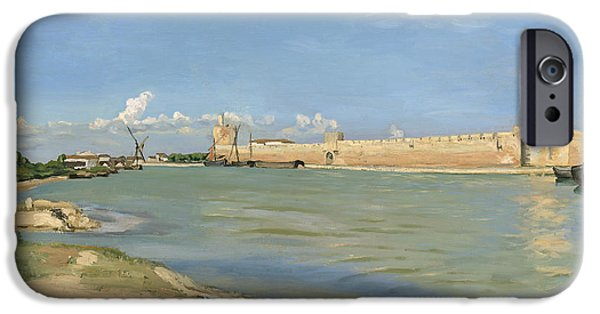 Sand Castles iPhone Cases - The Ramparts at Aigues Mortes iPhone Case by Jean Frederic Bazille