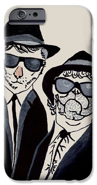 Recently Sold -  - Black Dog iPhone Cases - The Real Blues Brothers iPhone Case by Connie Valasco
