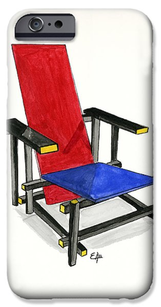 Recently Sold -  - Furniture iPhone Cases - The Red and Blue Chair - Watercolor painting  iPhone Case by Eugenia Alvarez