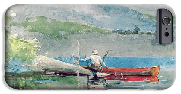 Red Canoe iPhone Cases - The Red Canoe iPhone Case by Winslow Homer