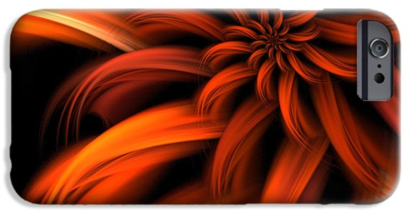 Fractal iPhone Cases - The Red Dahlia iPhone Case by John Edwards