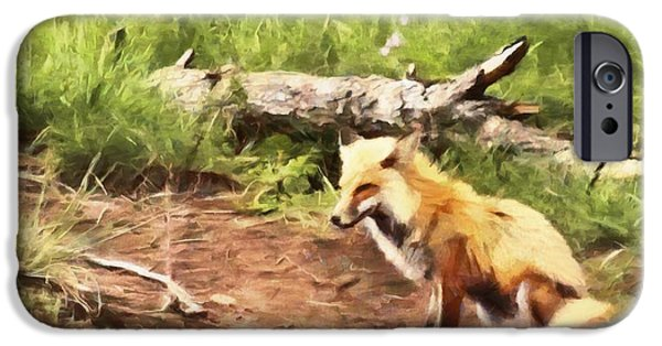 Young Mixed Media iPhone Cases - The Red Fox iPhone Case by Dan Sproul