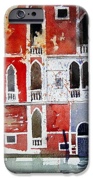 Venetian Canals iPhone Cases - The red house  Venice iPhone Case by Simon Fletcher