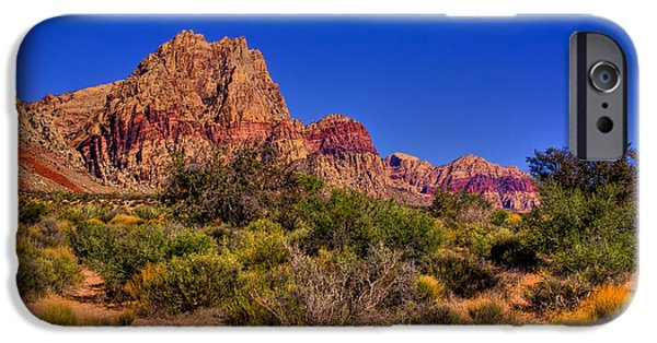 Fault iPhone Cases - The Red Rock Canyon at Bonnie Springs Ranch iPhone Case by David Patterson