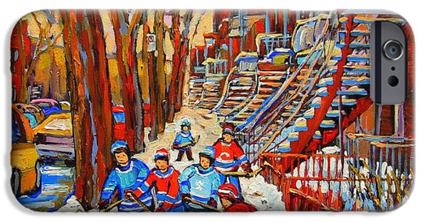Montreal Land Marks Paintings iPhone Cases - The Red Staircase Painting By Montreal Streetscene Artist Carole Spandau iPhone Case by Carole Spandau