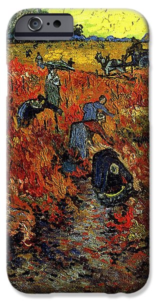 Recently Sold -  - Red Wine iPhone Cases - The Red Vineyard At Arles iPhone Case by Van Gogh