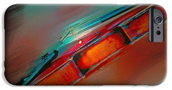 Abstract Digital Photographs iPhone Cases - The Red Violin iPhone Case by Lana Art