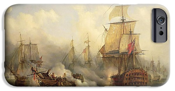 Boat Paintings iPhone Cases - The Redoutable at Trafalgar iPhone Case by Auguste Etienne Francois Mayer
