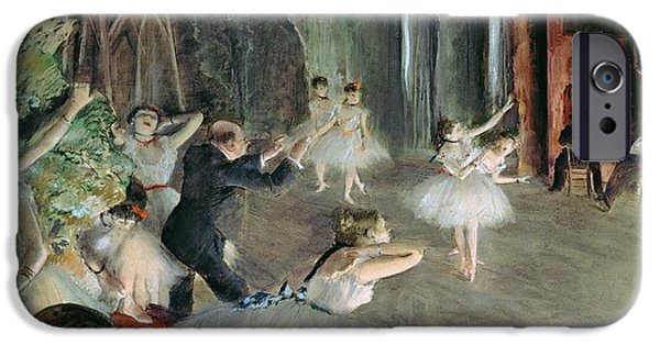 Tutus Paintings iPhone Cases - The Rehearsal of the Ballet on Stage iPhone Case by Edgar Degas