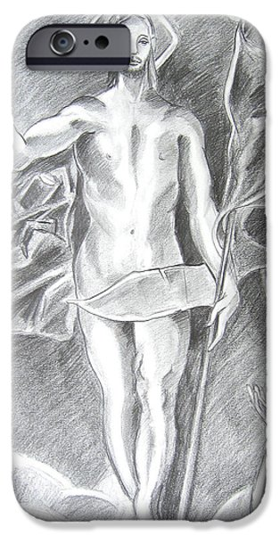 Jesus Drawings iPhone Cases - The Resurrection of Jesus iPhone Case by John Keaton