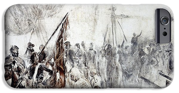 Pirate Ship iPhone Cases - The Return of the Corsairs iPhone Case by Maurice Henri Orange