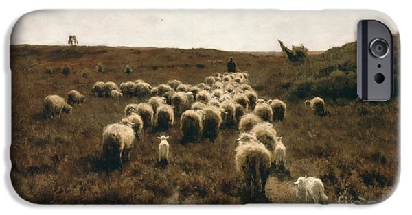 Pissarro iPhone Cases - The Return of the Flock at Laren iPhone Case by Celestial Images