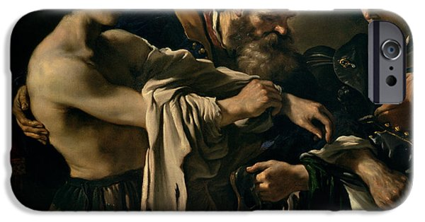 Forgiveness Paintings iPhone Cases - The Return of the Prodigal Son iPhone Case by Giovanni Francesco Barbieri