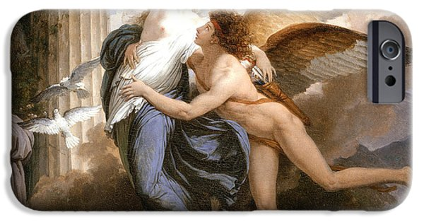 Cupid iPhone Cases - The Reunion of Cupid and Psyche iPhone Case by Jean Pierre Saint-Ours