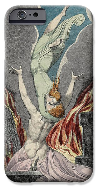 William Blake Drawings iPhone Cases - The Reunion of the Soul and the Body iPhone Case by Sir William Blake