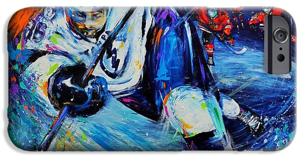 Hockey Paintings iPhone Cases - The Rifle iPhone Case by Dena Lowery