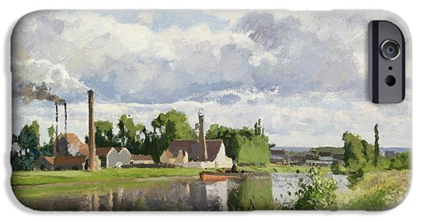 Camille Pissarro iPhone Cases - The River Oise near Pontoise iPhone Case by Camille Pissarro
